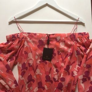 Massimo Dutti Floral off the shoulder Top NWT